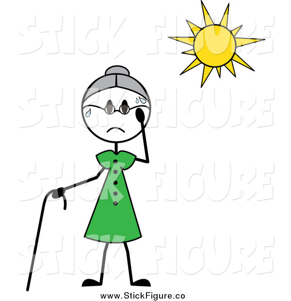 Clip Art Of A Hot Senior Stick Woman Sweating In The Sun By Pams