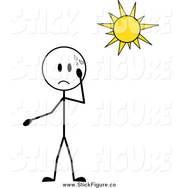 Clip Art Of A Stick Boy Sweating Under The Sun By Pams Clipart    650