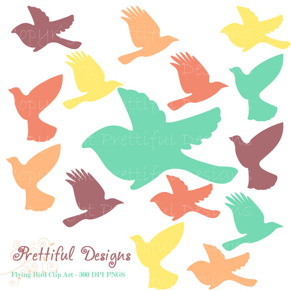 Flying Bird Silhouette Clip Art Teal Purple Orange Bird Clipart