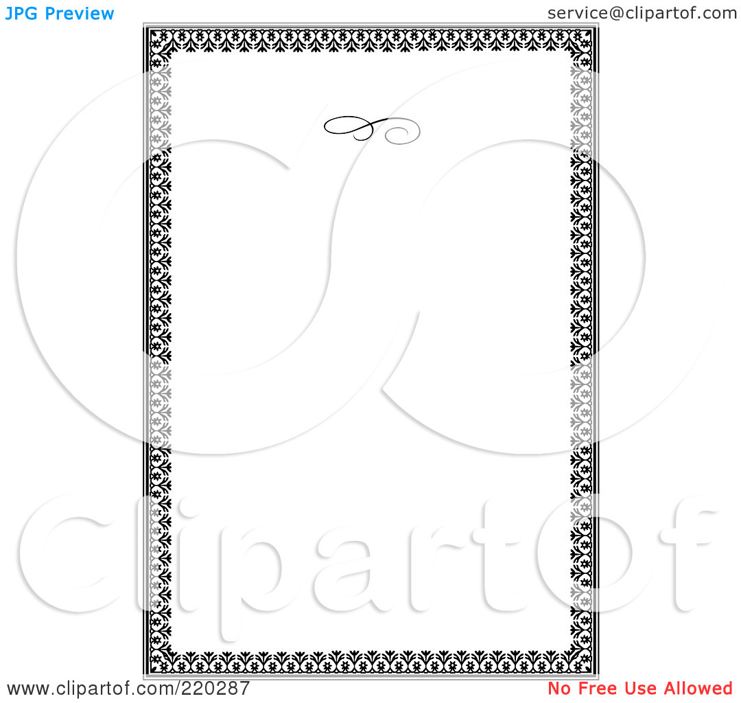 Free  Rf  Clipart Illustration Of A Formal Floral Invitation Border