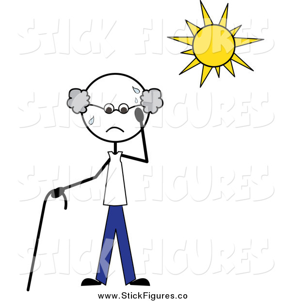 Stick Man Sweating Under The Heat Of The Sun By Pams Clipart    651
