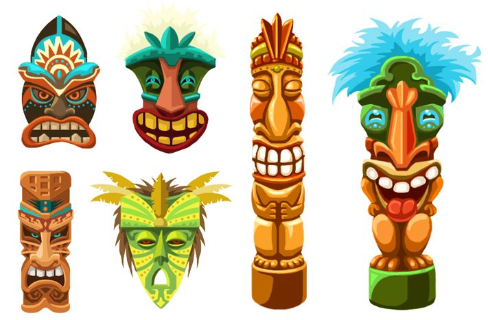 Tiki Face Clipart - Clipart Suggest
