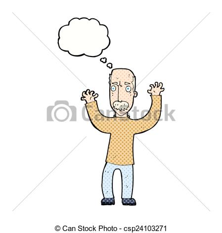 Vector   Cartoon Angry Dad With Thought Bubble   Stock Illustration
