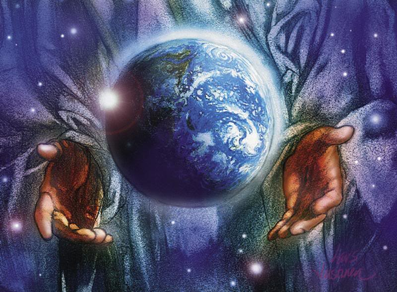 Beautiful Image Of Christ Holding The Earth  Globe  In His Hands Photo