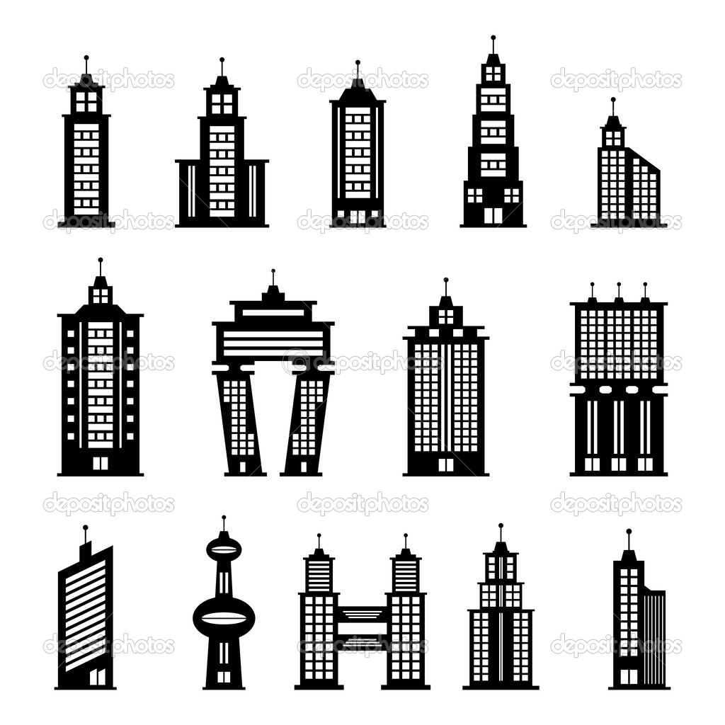 Building Clipart Black And White Building Black And White Set