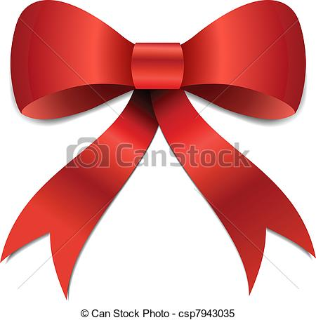 Clipart Vector Of Christmas Bow Illustration   Big Red Christmas Bow