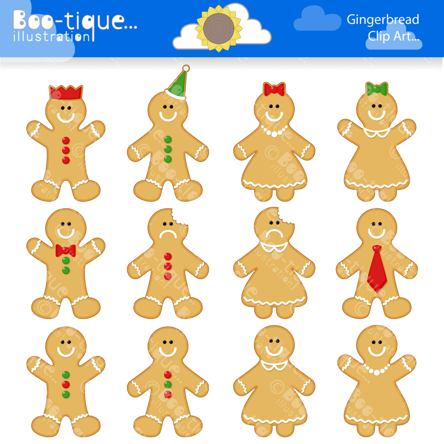 Gingerbread Man Digital Clipart For By Bootiqueillustration