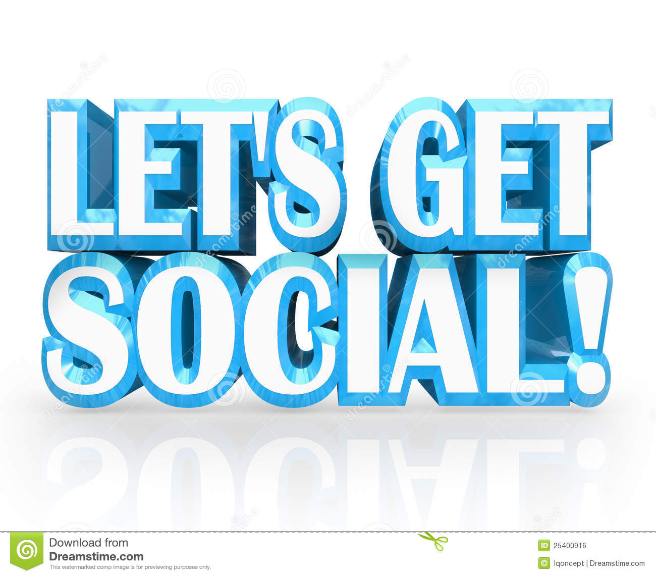 Let S Get Social 3d Words Invitation To Party Royalty Free Stock Image
