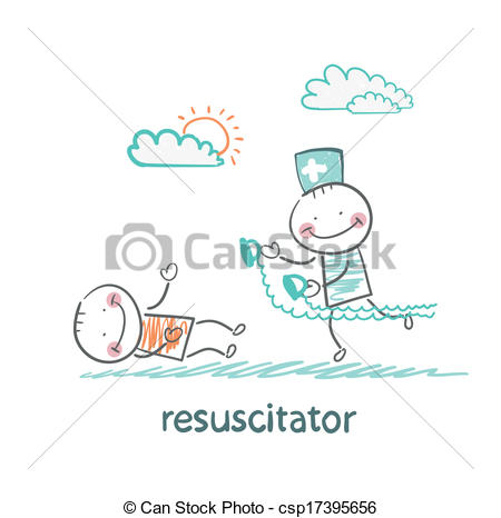 Vector   Resuscitation In A Hurry To Sick Patient   Stock Illustration