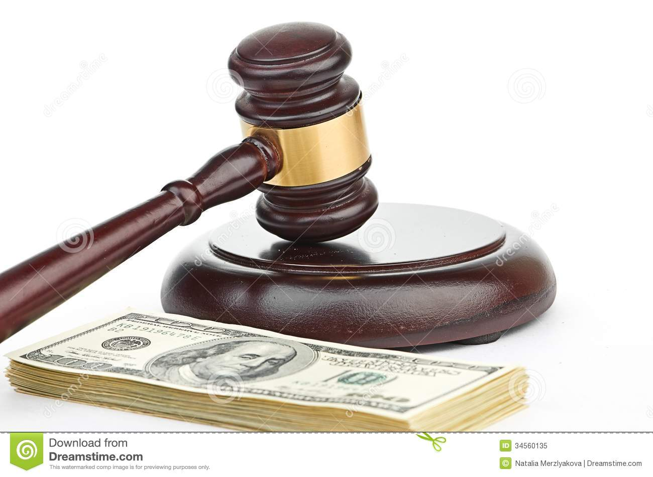 Free Clipart Gavel American Law Gavel On A Stack Of American Money