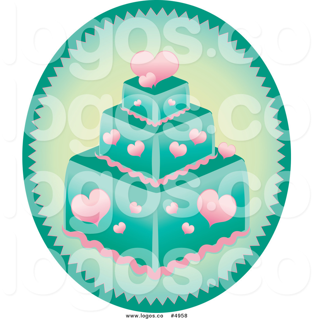 Free Vector Of A Turquoise And Heart Cake Logo By Pams Clipart    4958
