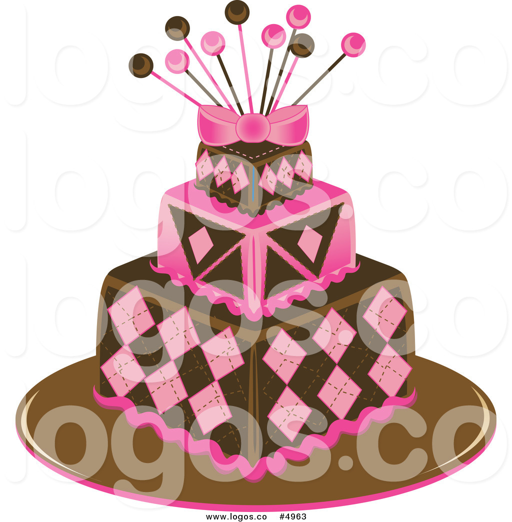 Funky Pink And Brown Square Cake Logo Three Tiered Cake With Candles