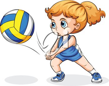 Illustration Of A Girl Playing Volleyball On A White Background More