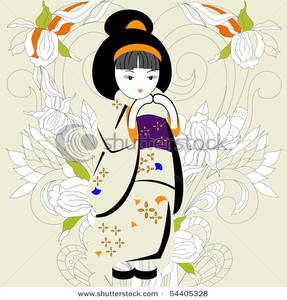 Japanese Girl With White Flowers   Clipart