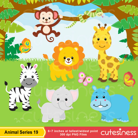 Jungle Animal Clipart  Baby Animals Clipart Safari Clipart  Zoo