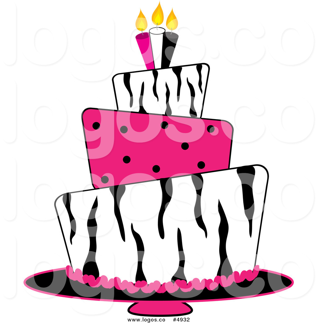 Of A Tiered Zebra Print And Pink Polka Dot Fondant Birthday Cake Logo