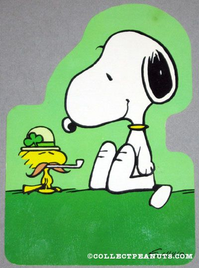 Snoopy   Woodstock St  Patrick S Day Greeting Card