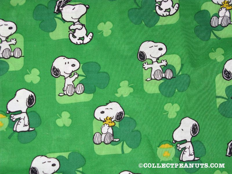Snoopy   Woodstock With Clovers St  Patrick S Day Fabric