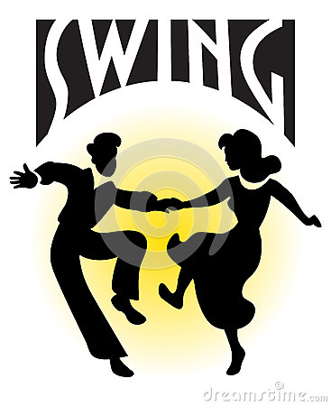 swing dancers vector silhouettes