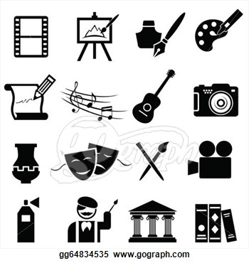 Vector Art   Fine Arts Icon Set  Clipart Drawing Gg64834535   Gograph