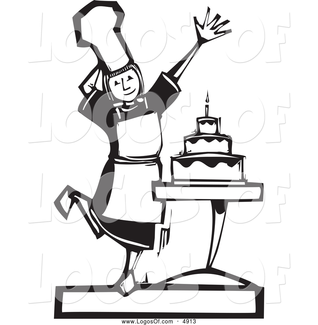 Vector Clipart Of A Black And White Baker Girl Presenting A Cake Logo