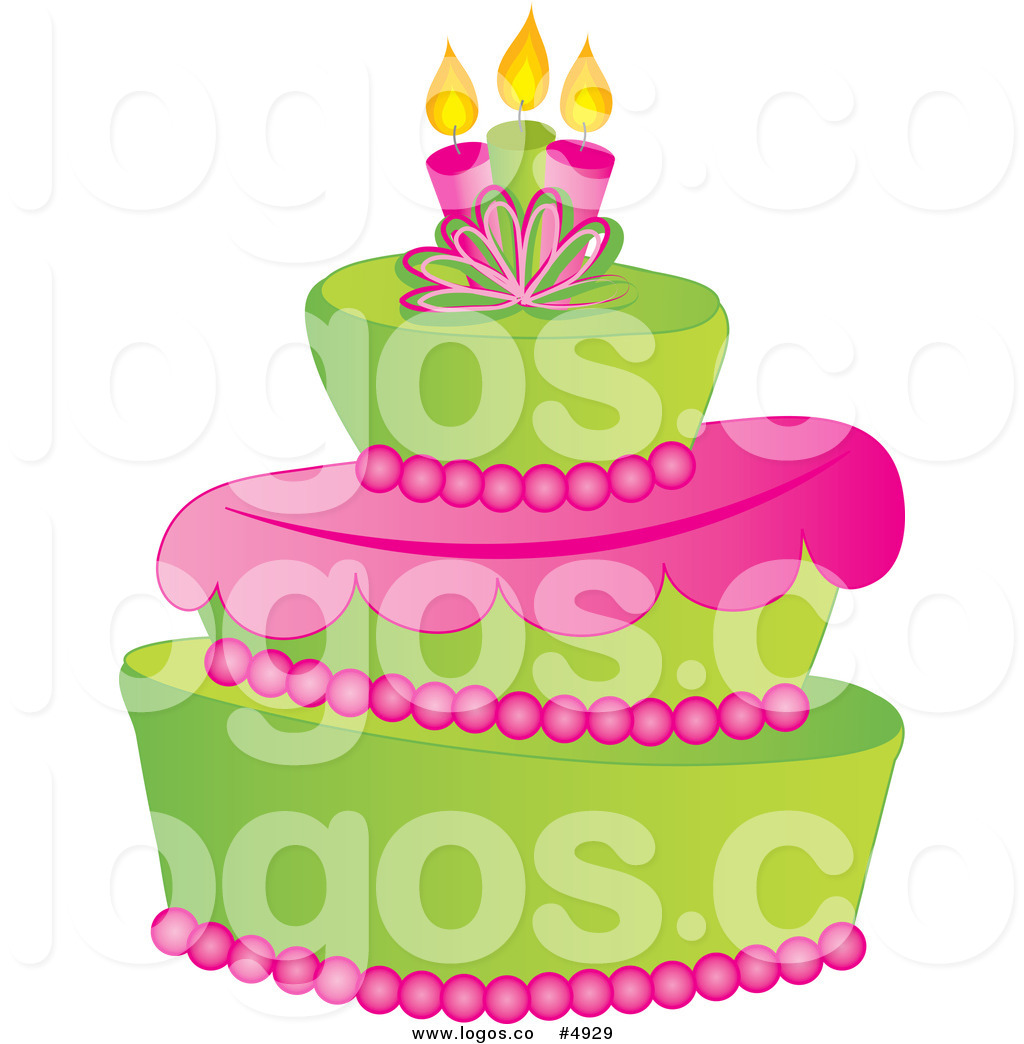 Vector Of A Green And Pink Fondant Cake Logo By Pams Clipart    4929