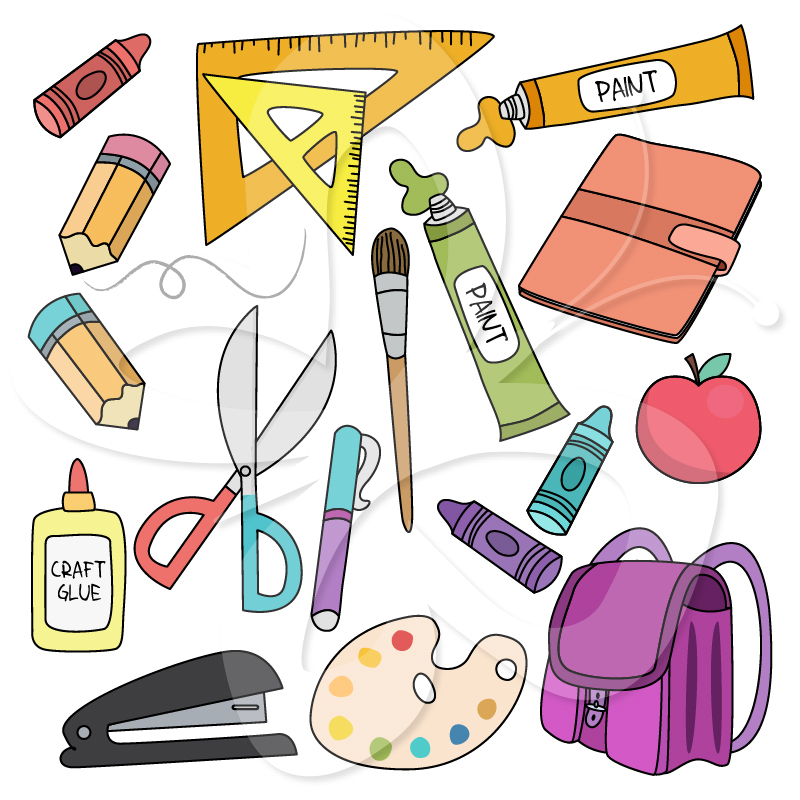 Back To School Supplies Clip Art Set