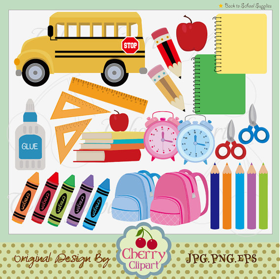 Back To School Supplies Digital Clip Art Set  Personal And Commercial
