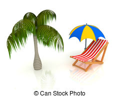 Beach   3d Render Of Chaise Longue Umbrella Palm
