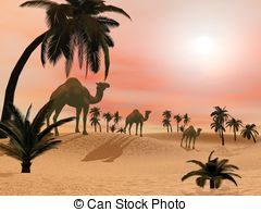 Camels In The Desert   3d Render   Camels Standing In A Sand