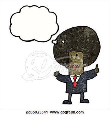 Cartoon Businessman With Big Afro  Clipart Drawing Gg65925541