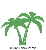 Green Palms Three Silhouette Cartoon Character
