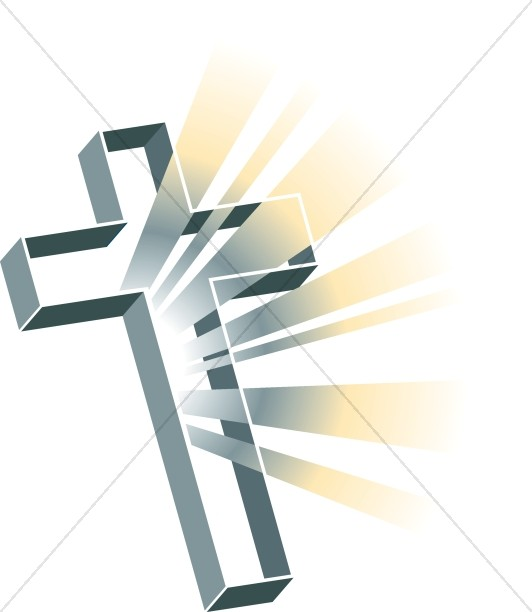 Multidimensional Gray Cross With Rays   Cross Clipart