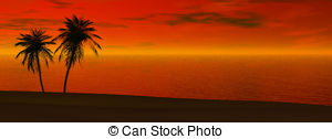 Panoramic Sunset   Silhoutte Of Two Palms In Sunset