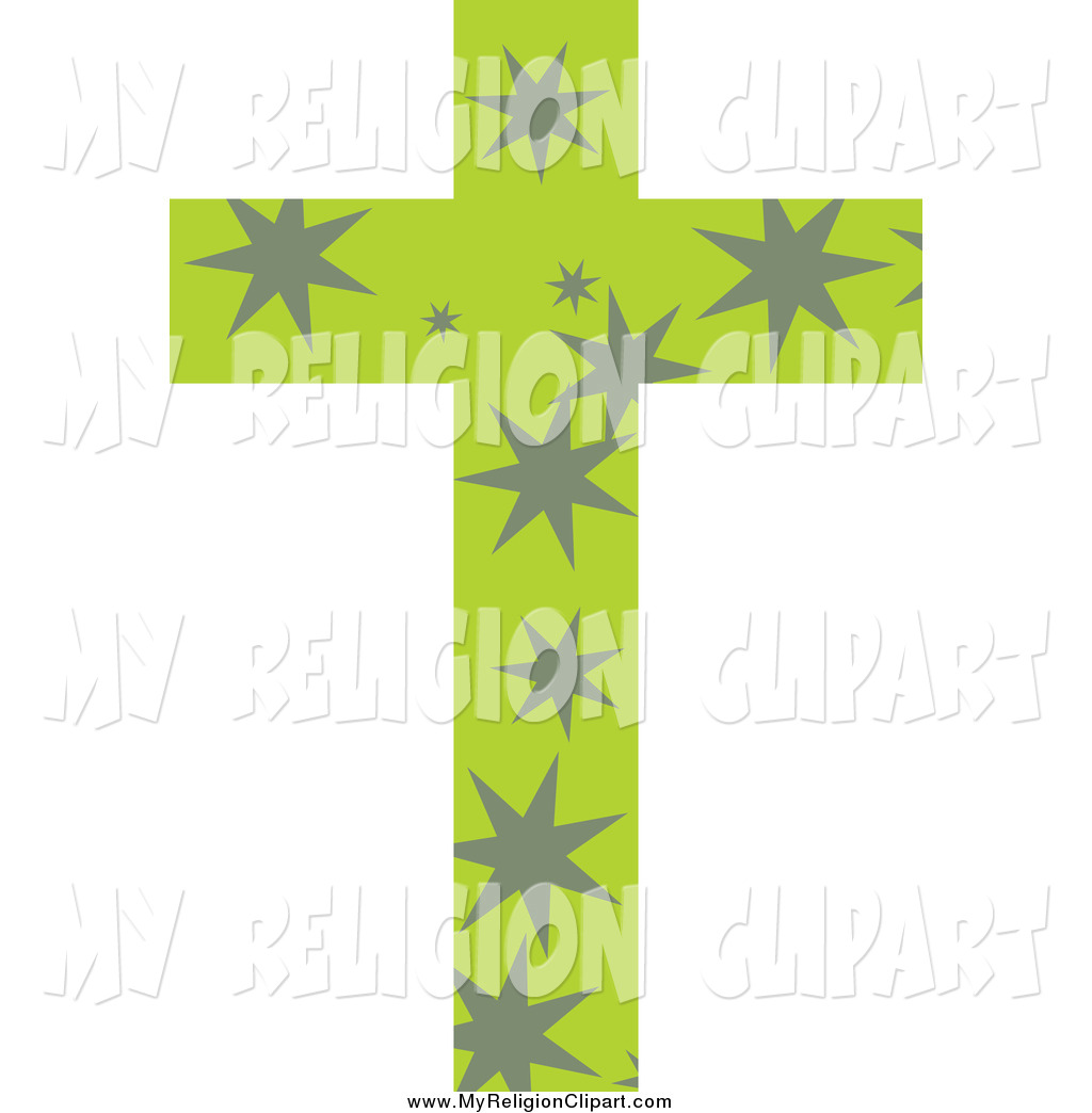 Religion Clip Art Of A Green Patterned Cross With Gray Stars By Prawny