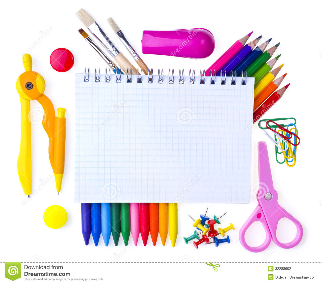 School supplies back to school background clipart kid
