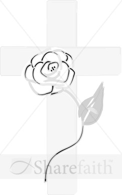 Subtle Gray Cross And Rose   Cross Clipart