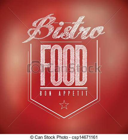 Clip Art Vector Of Red Bistro Poster Sign Text Banner Illustration