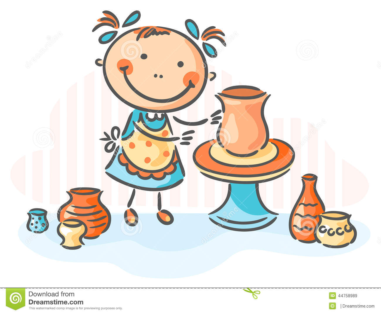 Making Pottery As A Creative Activity Stock Vector   Image  44758989