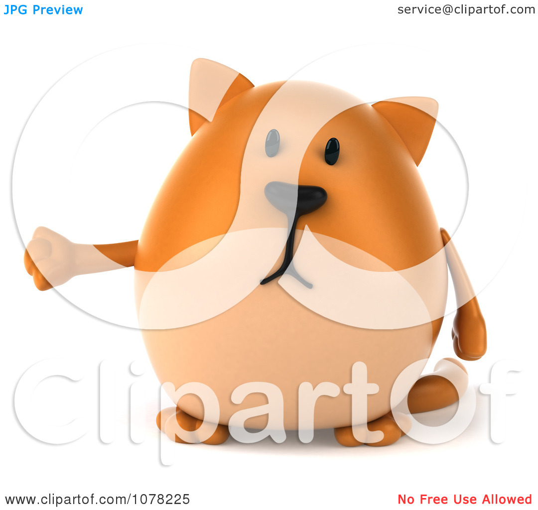 Clipart 3d Chubby Orange Cat Presenting   Royalty Free Cgi