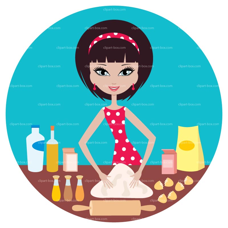 Clipart Girl Making Pie   Royalty Free Vector Design