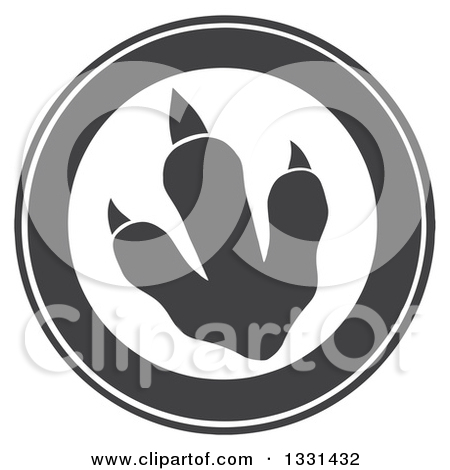 Clipart Of A Green Raptor Dinosaur Foot Print In A Circle With Text