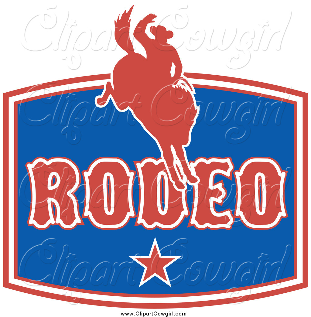 Clipart Of A Red White And Blue Rodeo Cowboy Sign By Patrimonio