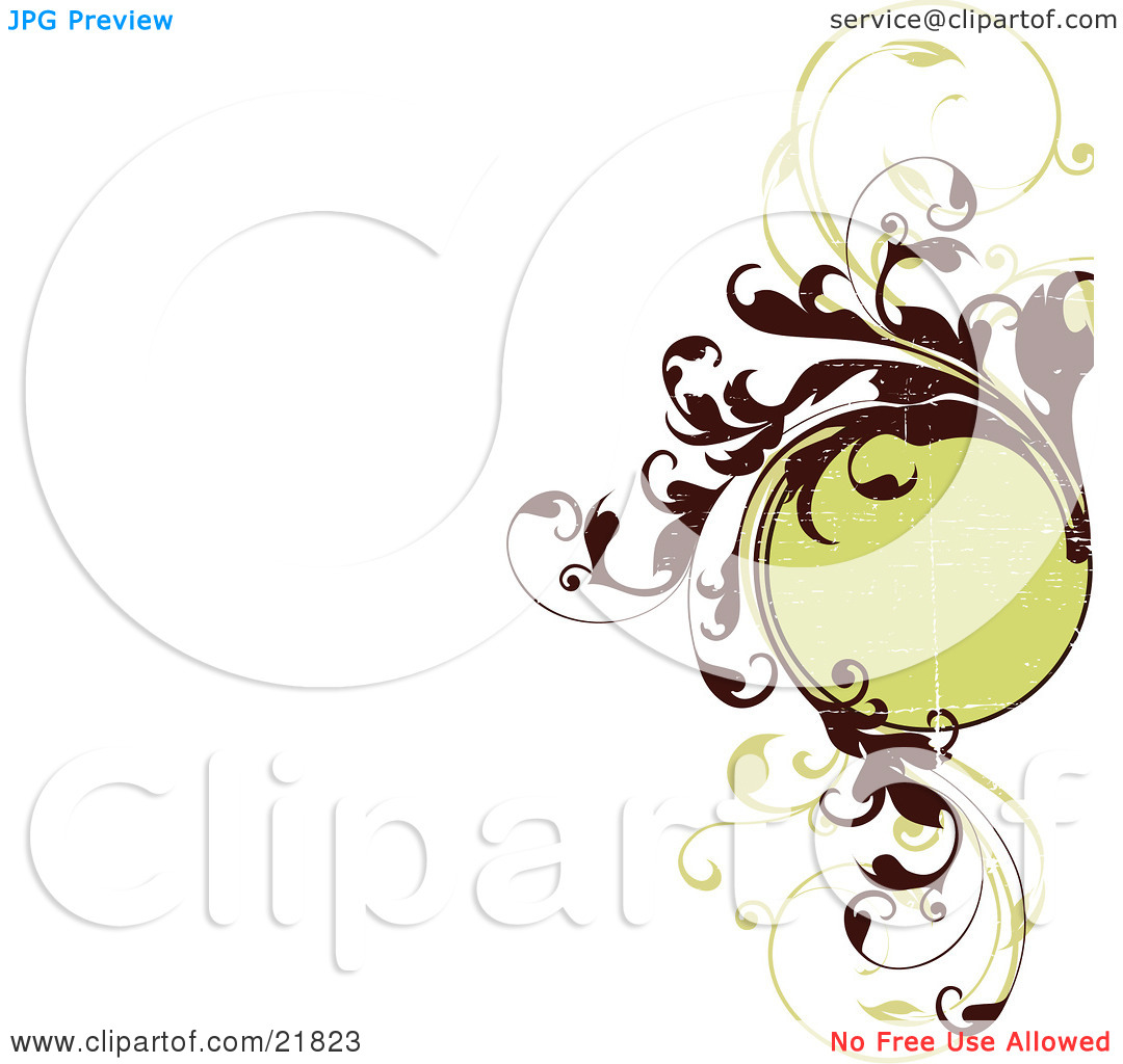 Clipart Picture Illustration Of A Blank Green Circle With Elegant