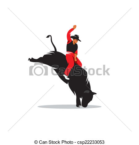 Clipart Vector Of Rodeo Cowboy Vector Sign   Rodeo Cowboy Riding