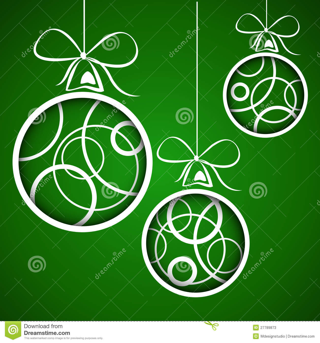 Dark Green White Circle Christmas Balls Stock Photos   Image  27789873