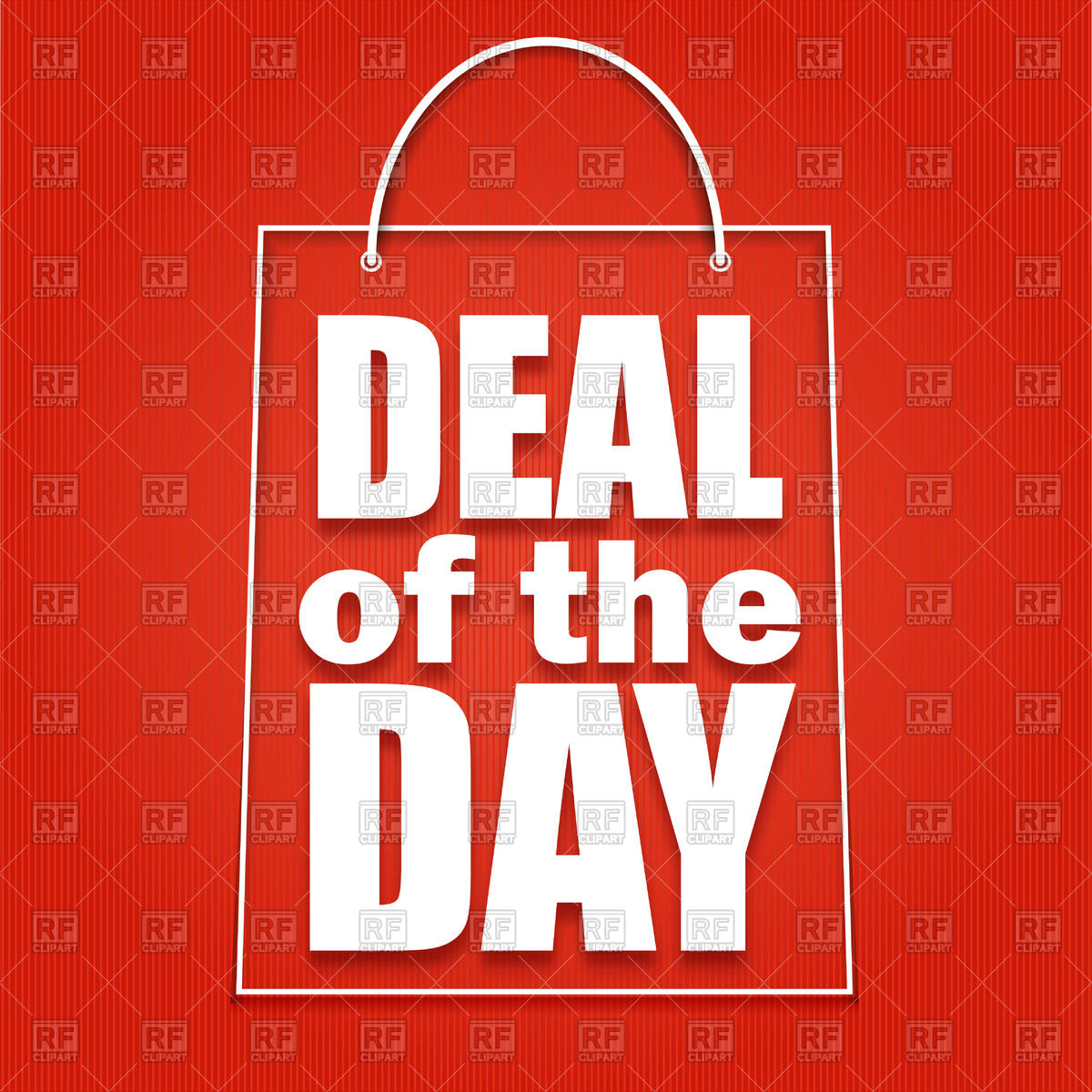 Deal of the day advertising poster with symbolic shopping bag