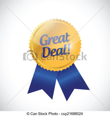 Great Deal Gold Ribbon Illustration Design Over A White Background