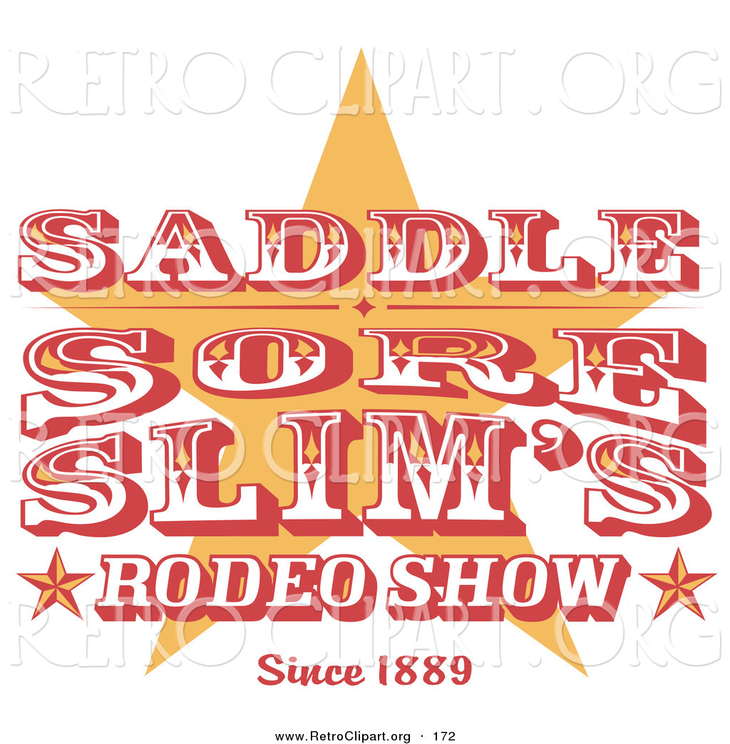 Larger Preview  Retro Clipart Of A Vintage Rodeo Sign With A Star On