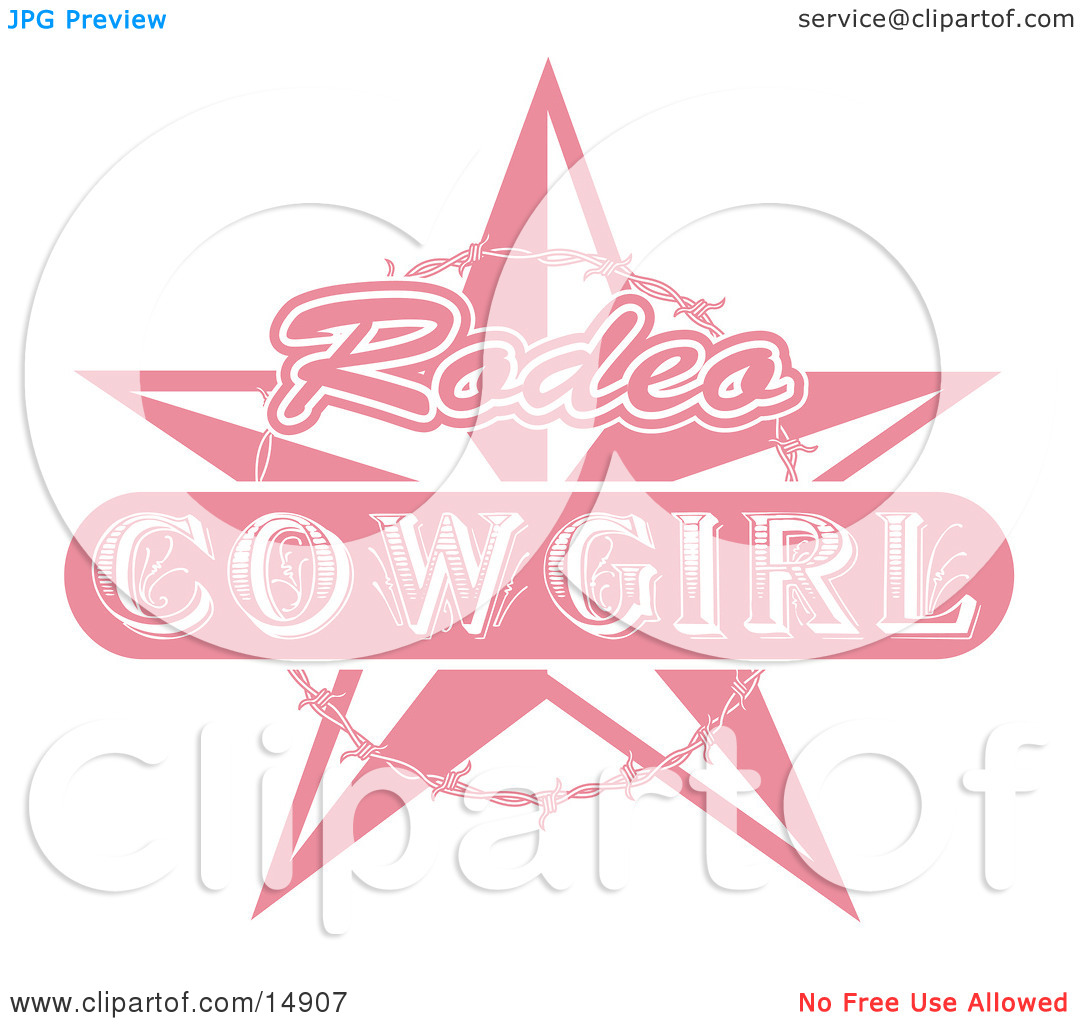Pink Rodeo Cowgirl Sign With A Star And Barbed Wire Clipart